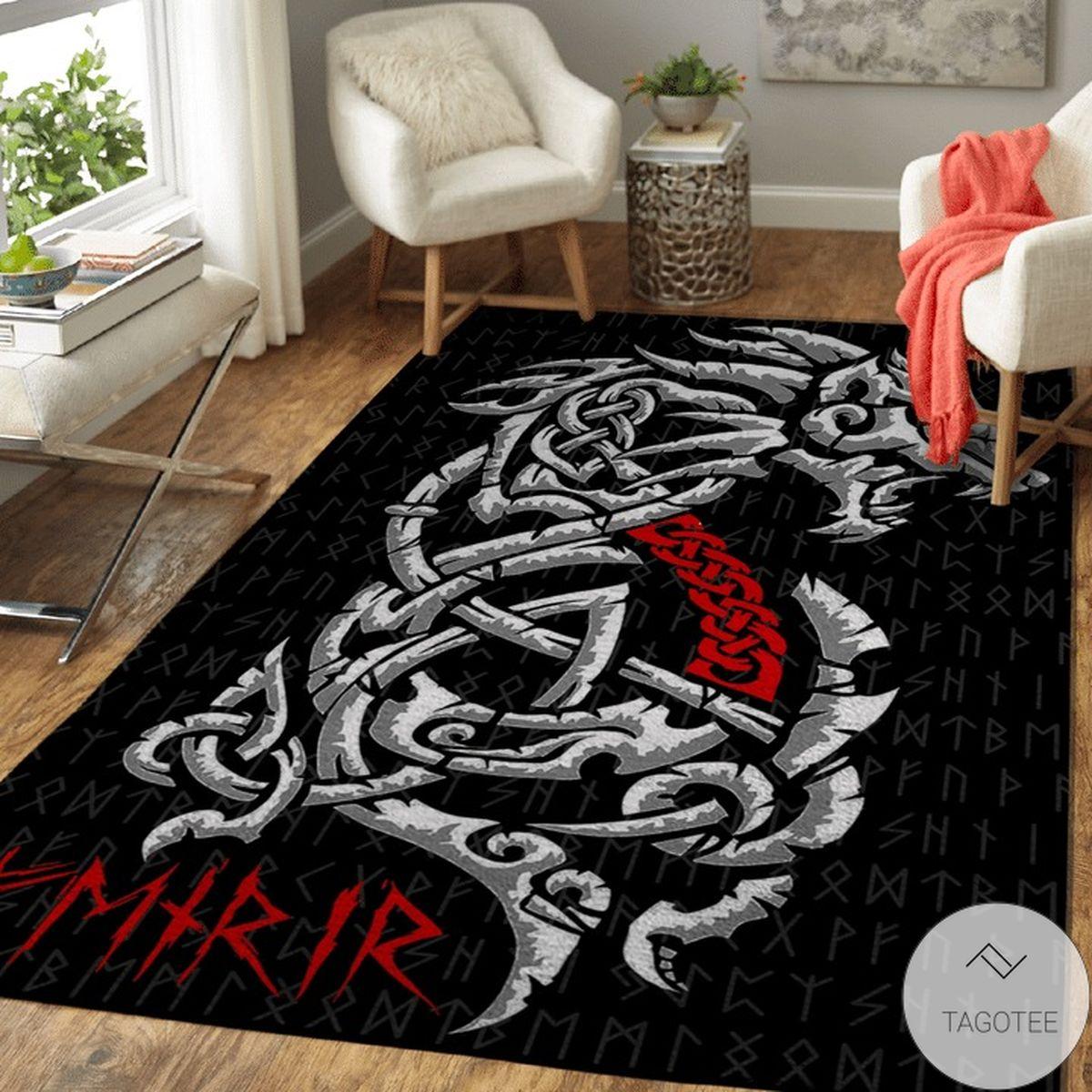 Fenrir Rune Red Dragon Viking Area Rug