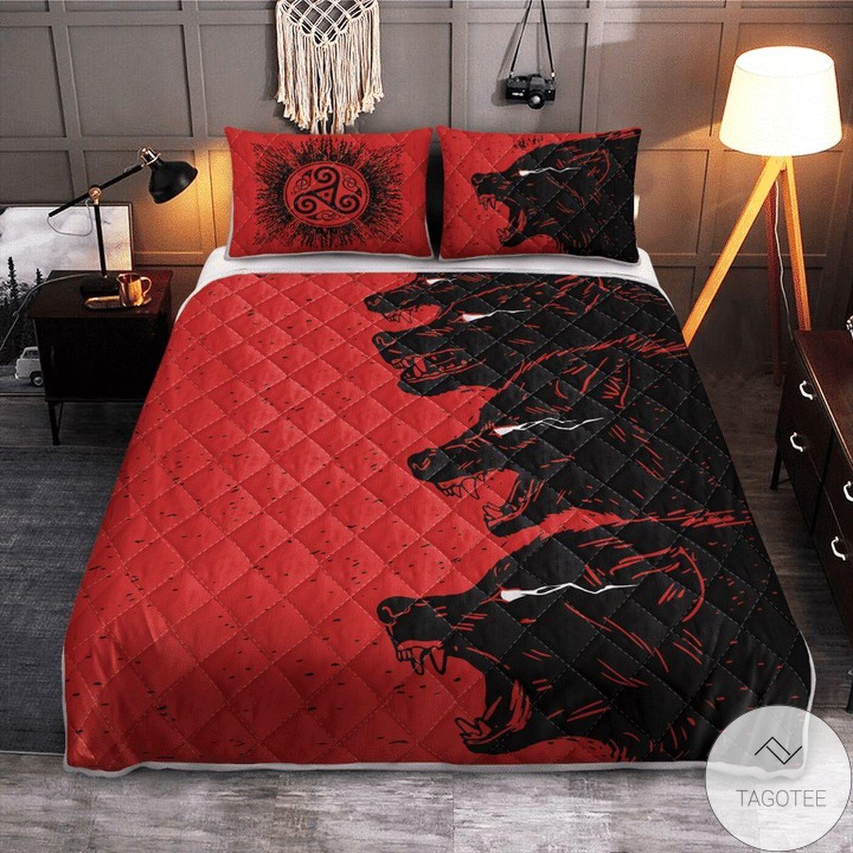 Fenrir Viking Wolves Red Quilt Bedding Set