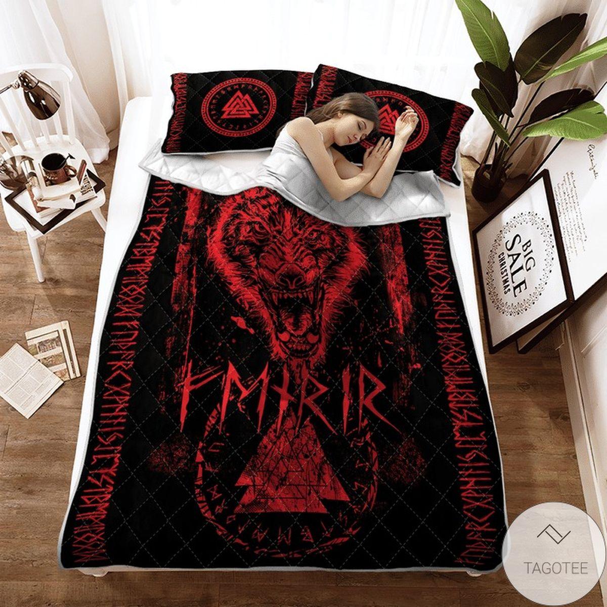 Fenrir Wolf Valknut And Rune Viking Quilt Bedding Set x