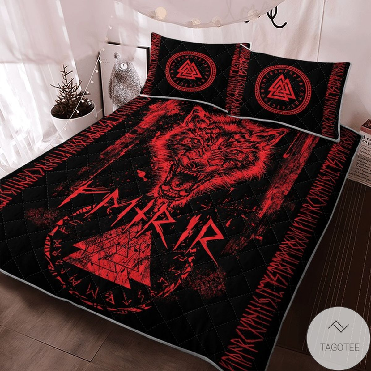 Where To Buy Fenrir Wolf Valknut And Rune Viking Quilt Bedding Set