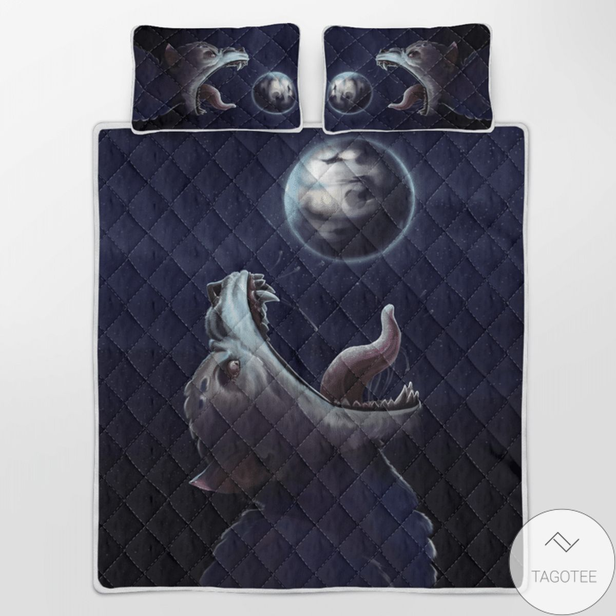 Awesome Fenrir-wolf Trying To Swallow The Moon - Viking Quilt Bedding Set