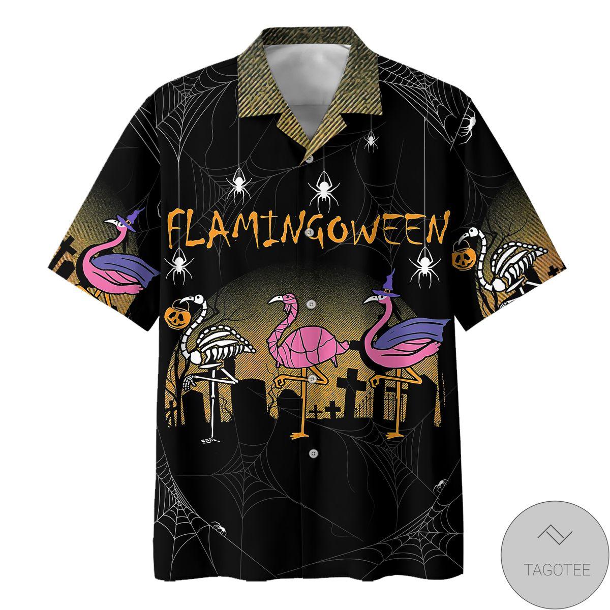 Gorgeous Flamingo Halloween Hawaiian Shirt