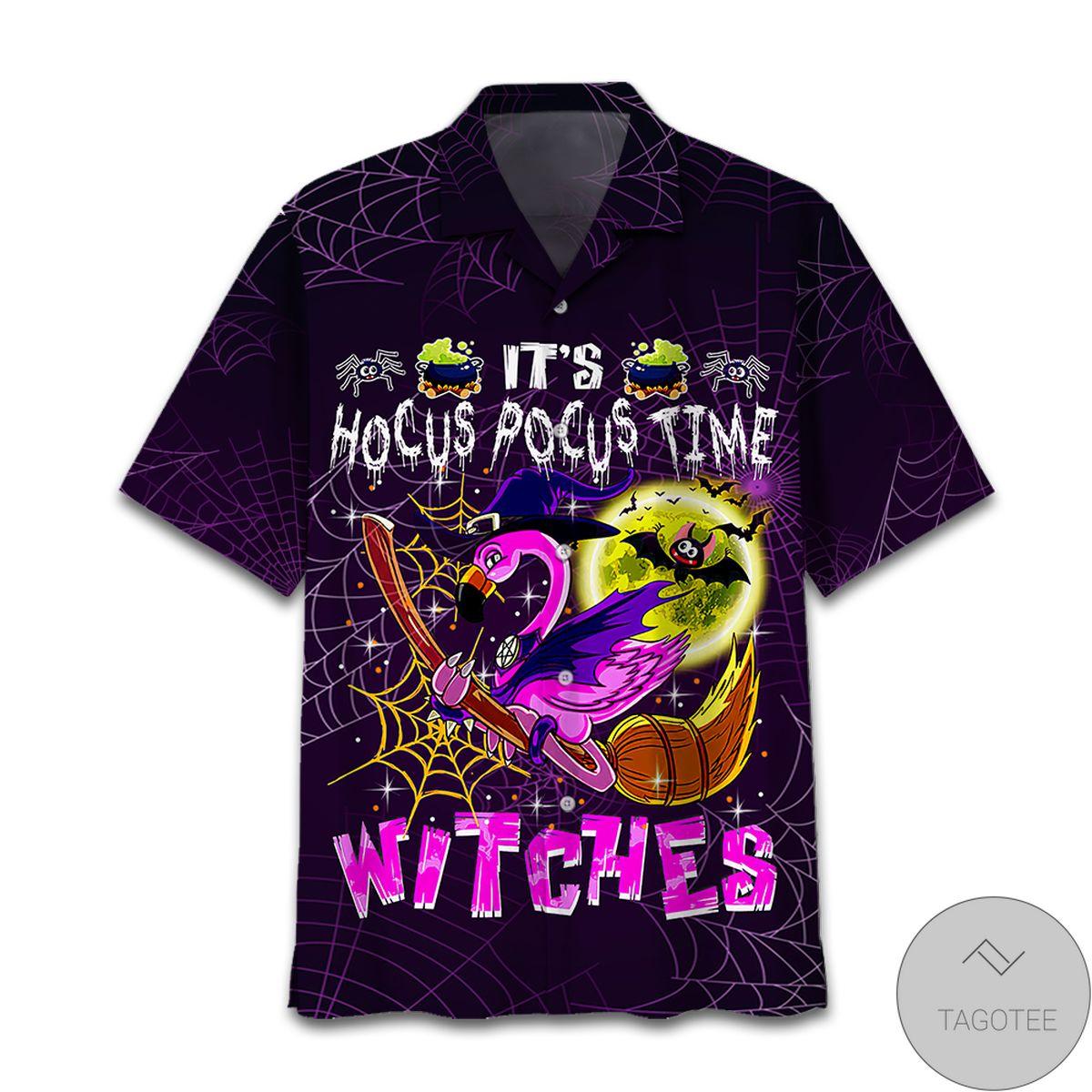 Amazon Flamingo Halloween Hocus Pocus Witches Hawaiian Shirt