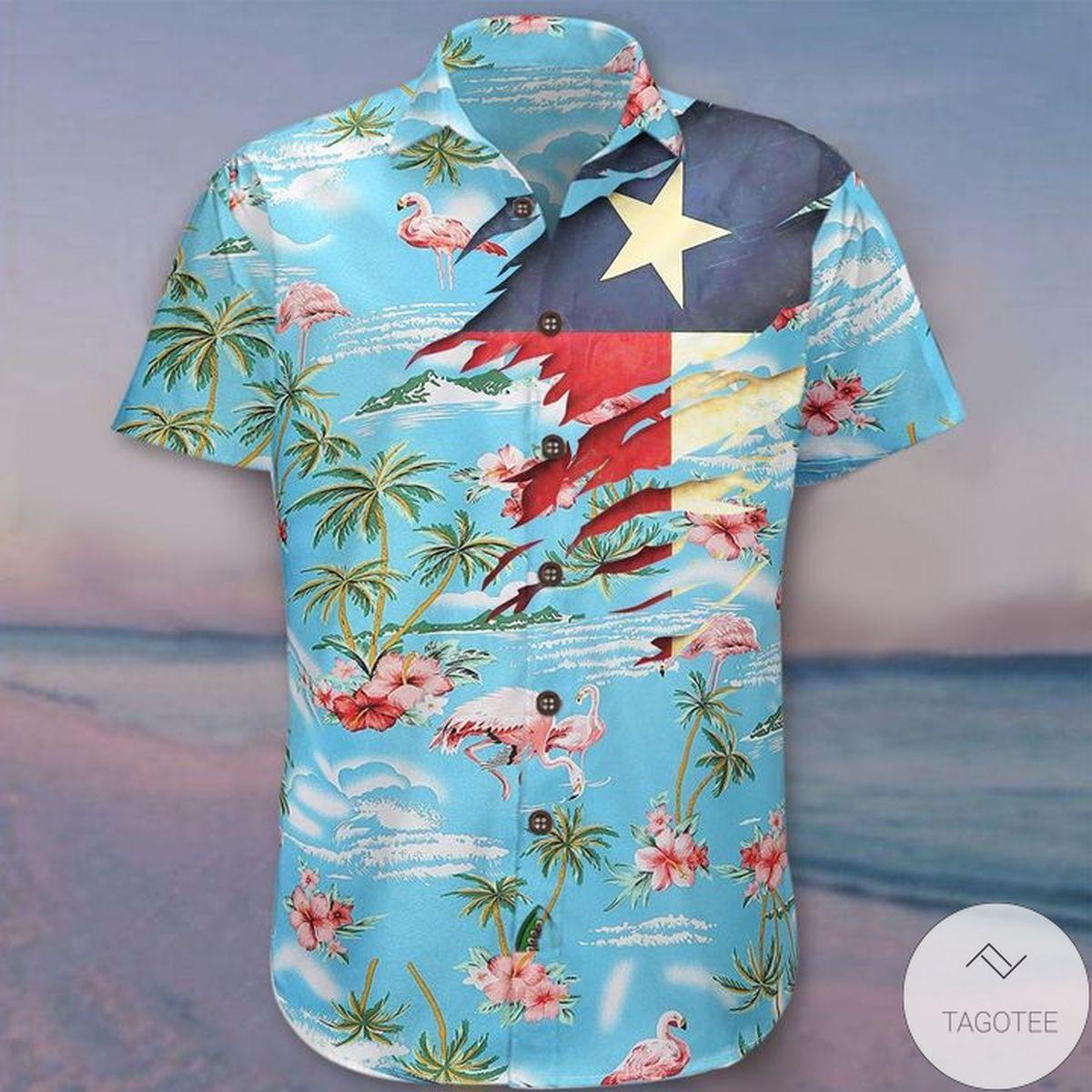 Flamingo Summer Beach Texas Hawaiian Shirt