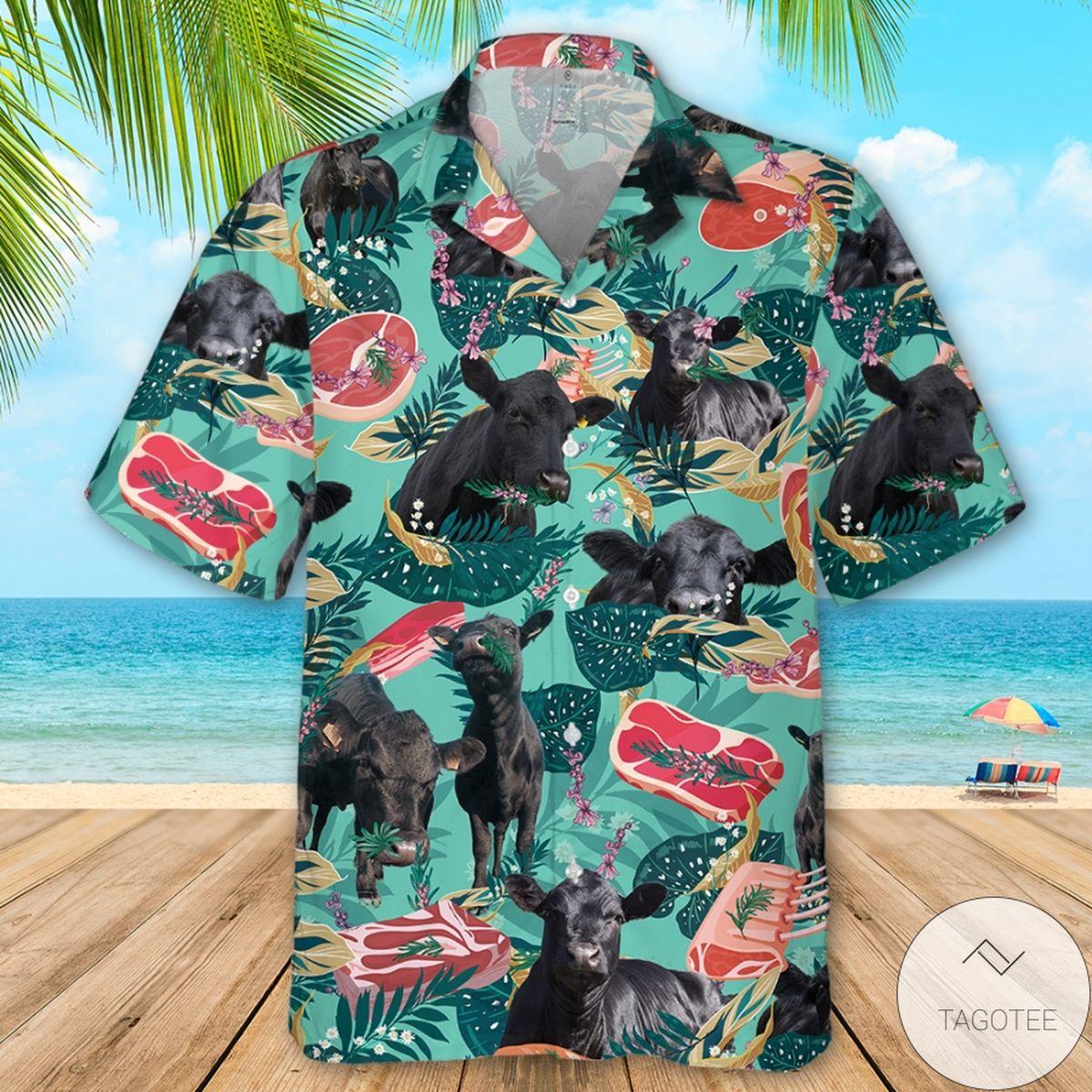 Funny Angus Cattle Beef Hawaiian Shirt