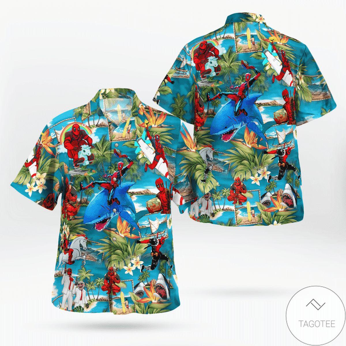 Funny Tee Funny Shark Deadpool Vacation Hawaiian Shirt