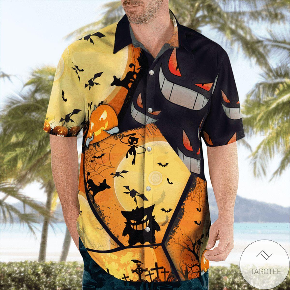 Present Gengar Pokemon Halloween Hawaiian Shirt