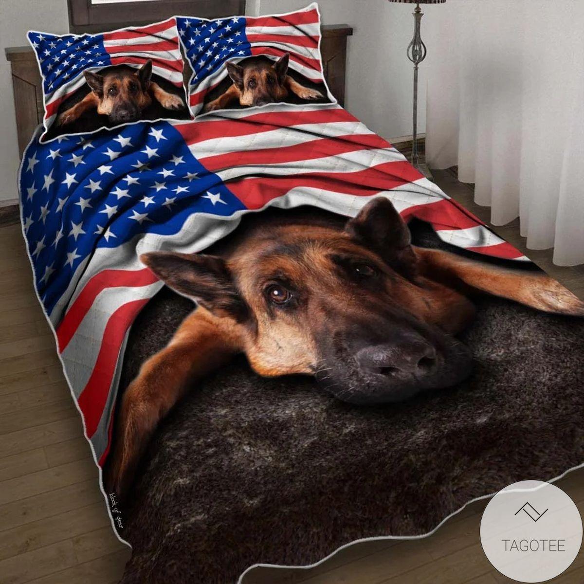 German Shepherd American Patriot Quilt Bedding Set