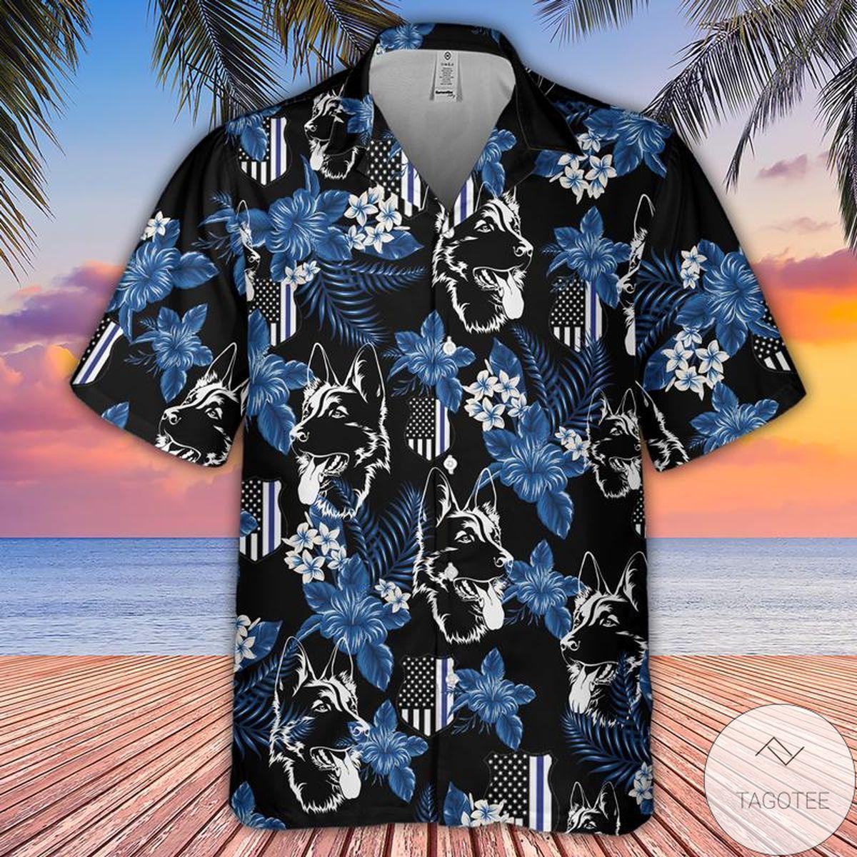 German Shepherd Police Seamless Pattern Hawaiian Shirt