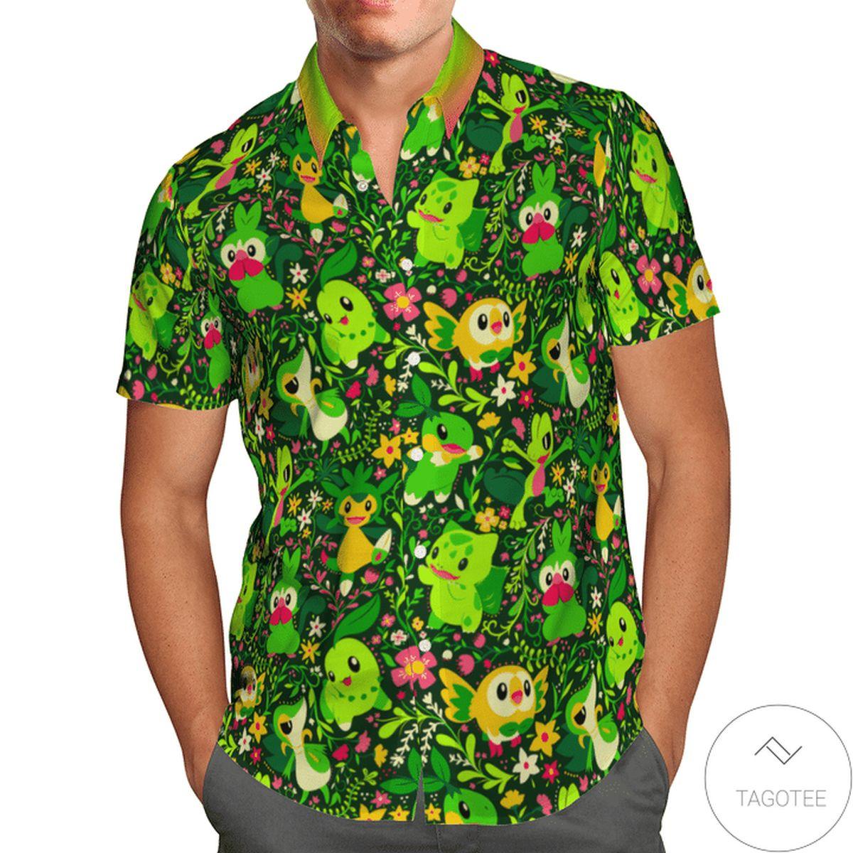 Present Grass Pokemon Hawaiian Shirt