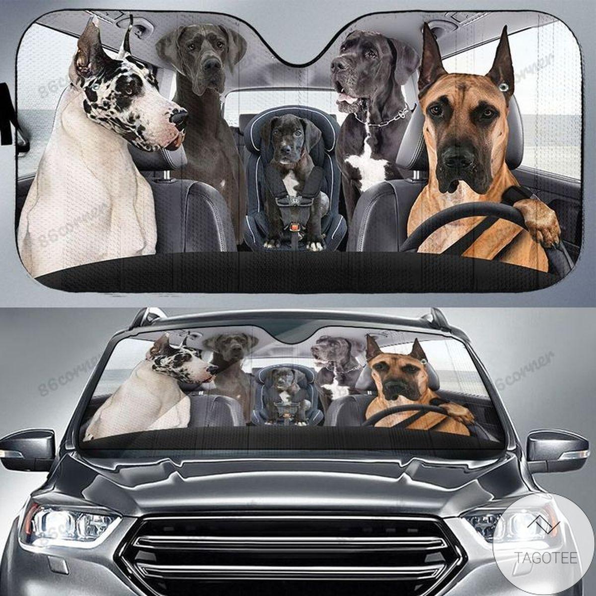 Great Dane Family Driving Car Sunshade