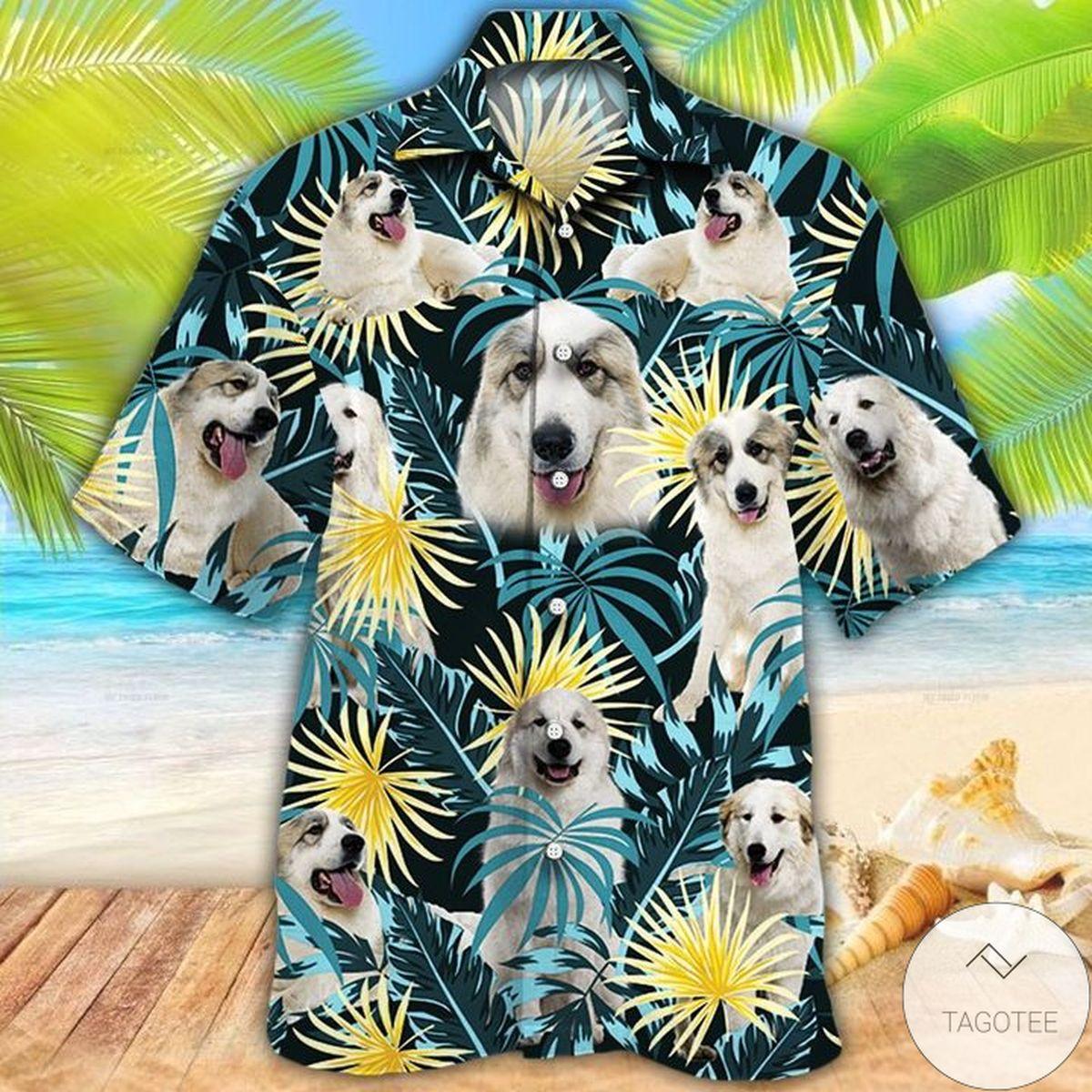 Great Pyrenees Dog Lovers Blue And Yellow Plants Hawaiian Shirt