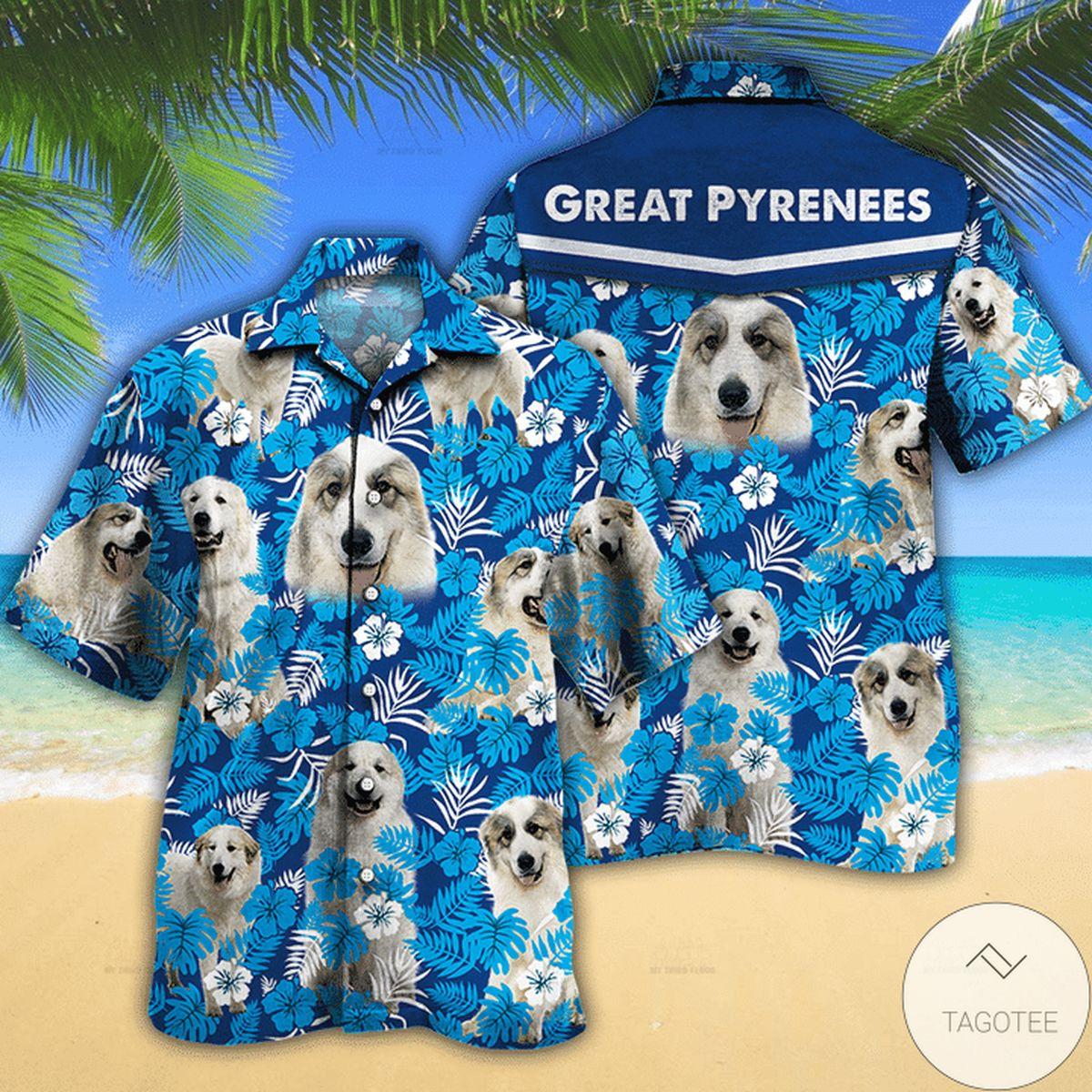 Great Pyrenees Dog Lovers Blue Floral Pattern Hawaiian Shirt