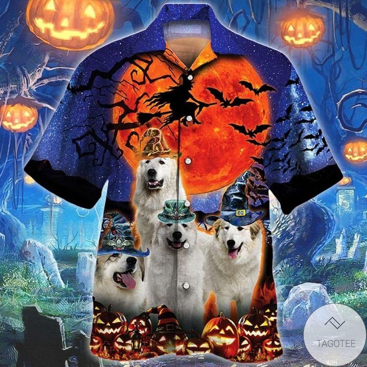 Great Pyrenees Dog Lovers Halloween Night Hawaiian Shirt
