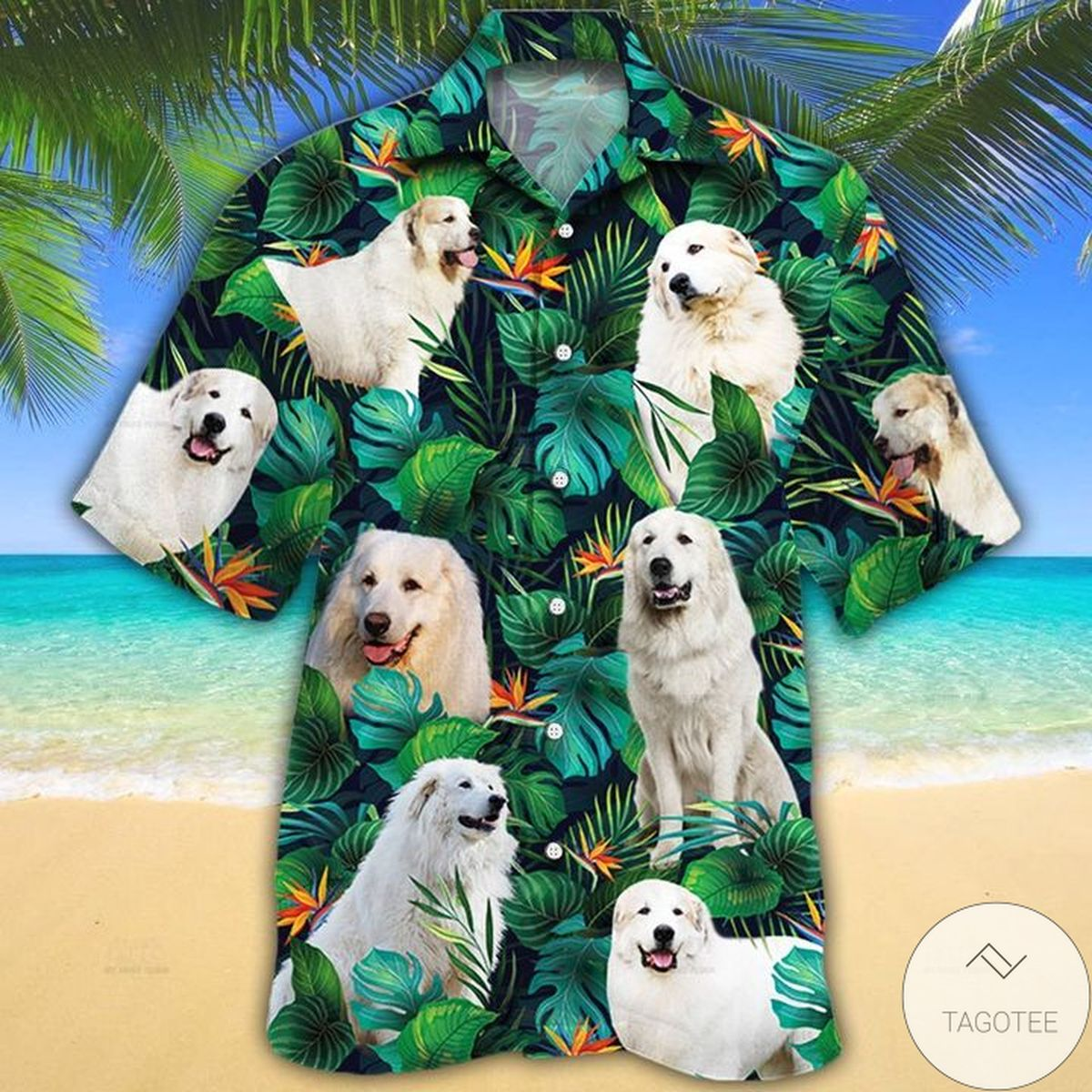Great Pyrenees Dog Lovers Tropical Leaves Hawaiian Shirt