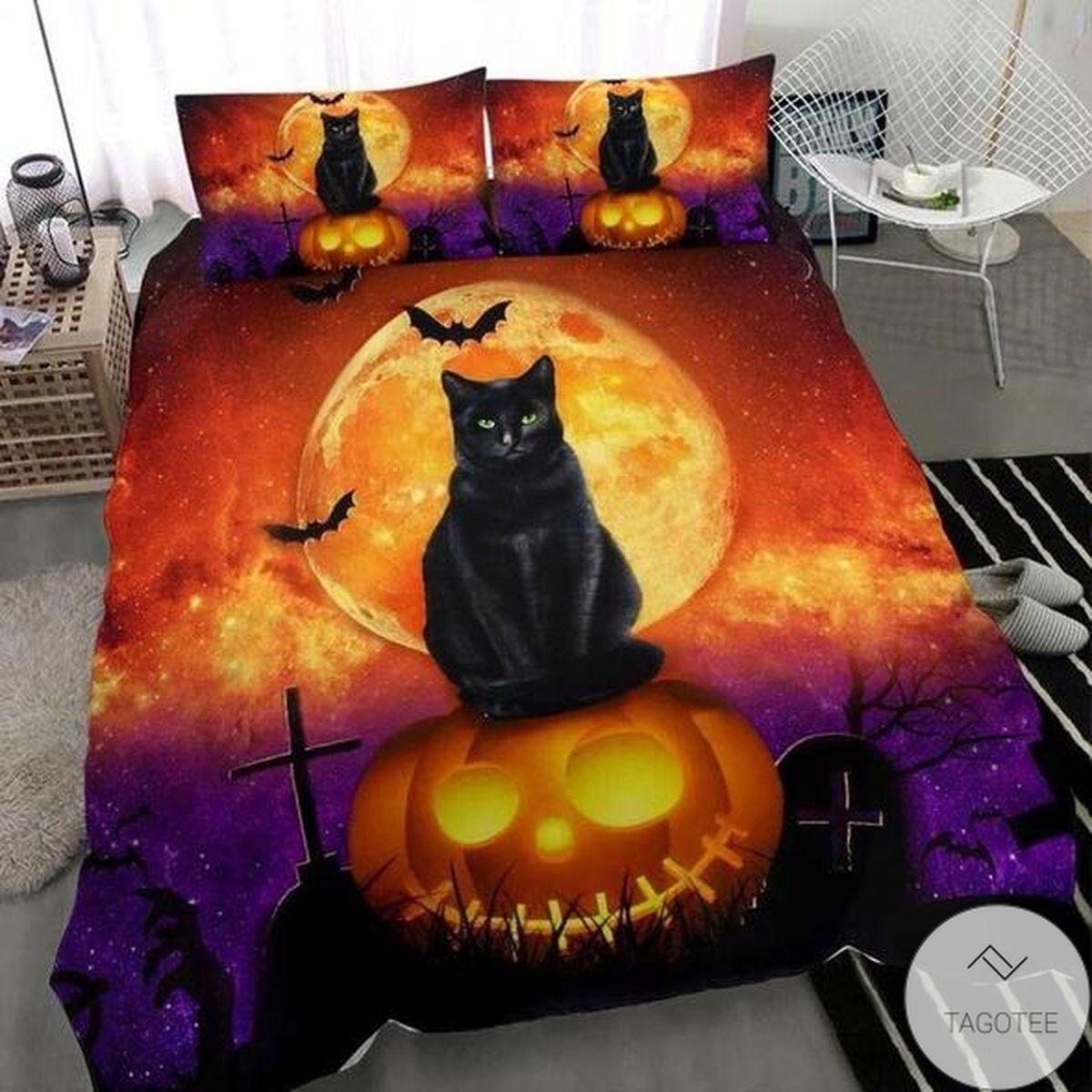 Halloween Black Cat Bedding Set
