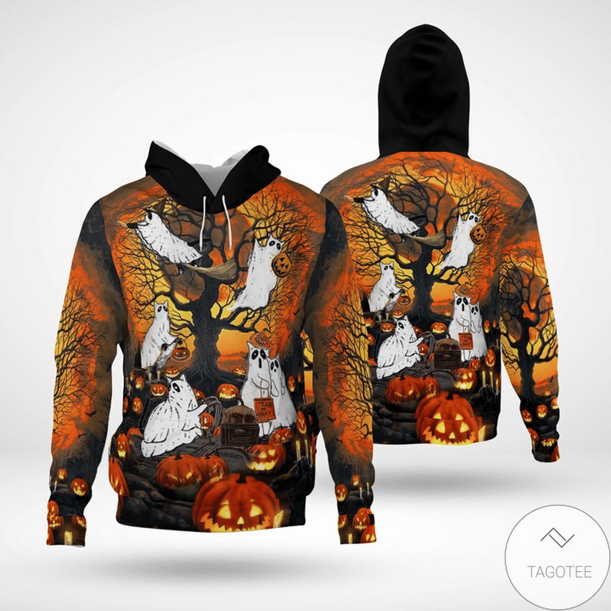 Adorable Halloween Ghost Cat Pumpkin 3d Hoodie