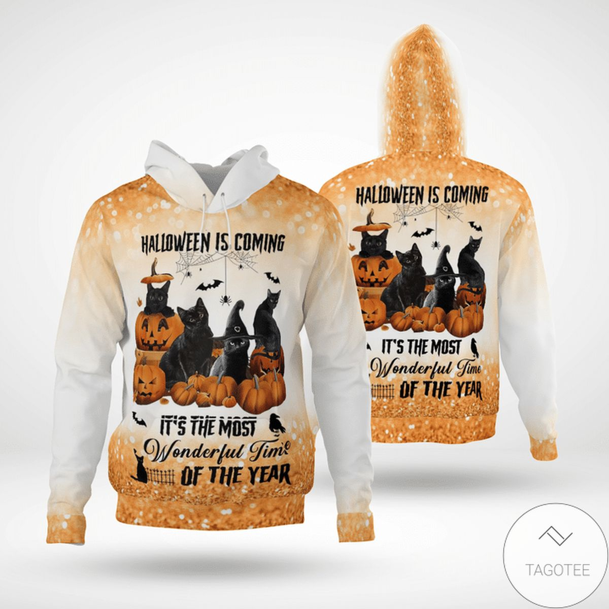 Free Halloween Is Coming It's The Most Wonderful Time Of The Year Black Cat Twinkles  3d Hoodie