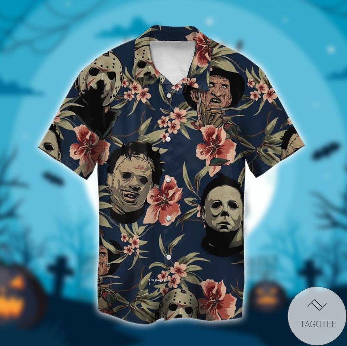 Mother's Day Gift Halloween Michael Myers Jason Voorhees Freddy Krueger Leatherface Hawaiian Shirt, Beach Shorts