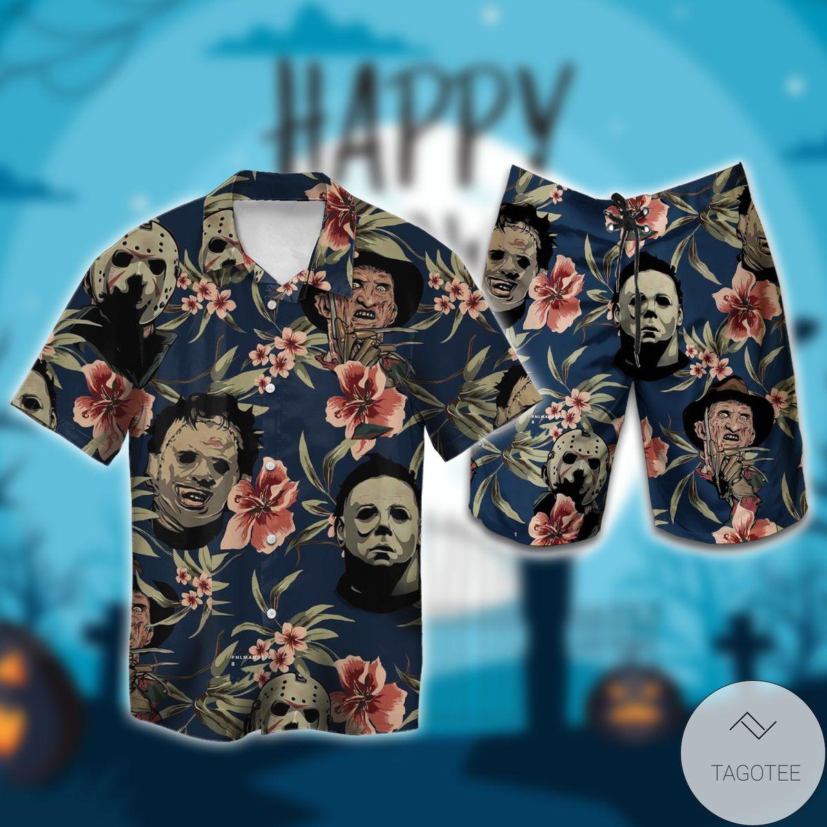 US Shop Halloween Michael Myers Jason Voorhees Freddy Krueger Leatherface Hawaiian Shirt, Beach Shorts
