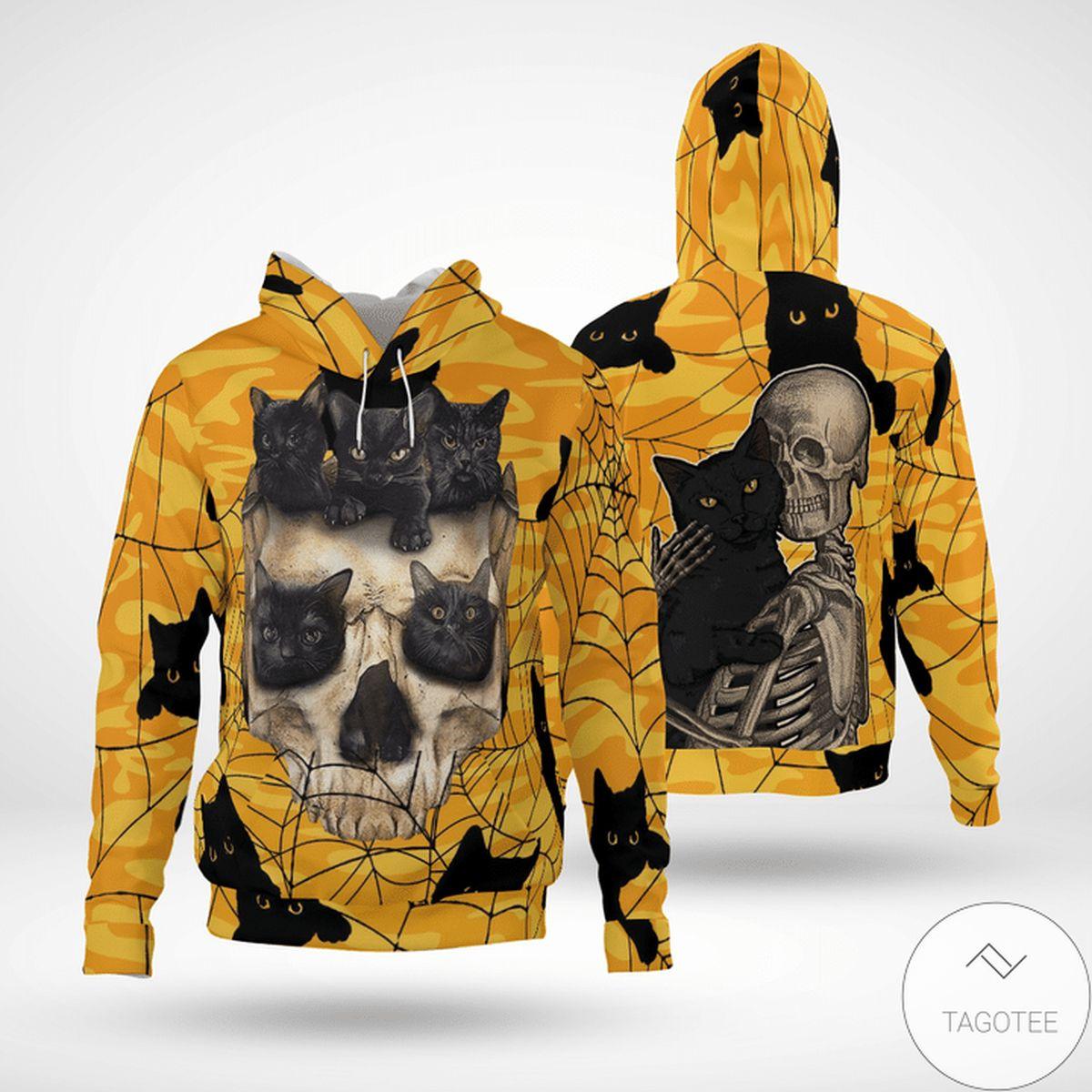 Top Selling Halloween Skull Cat 3d Hoodie