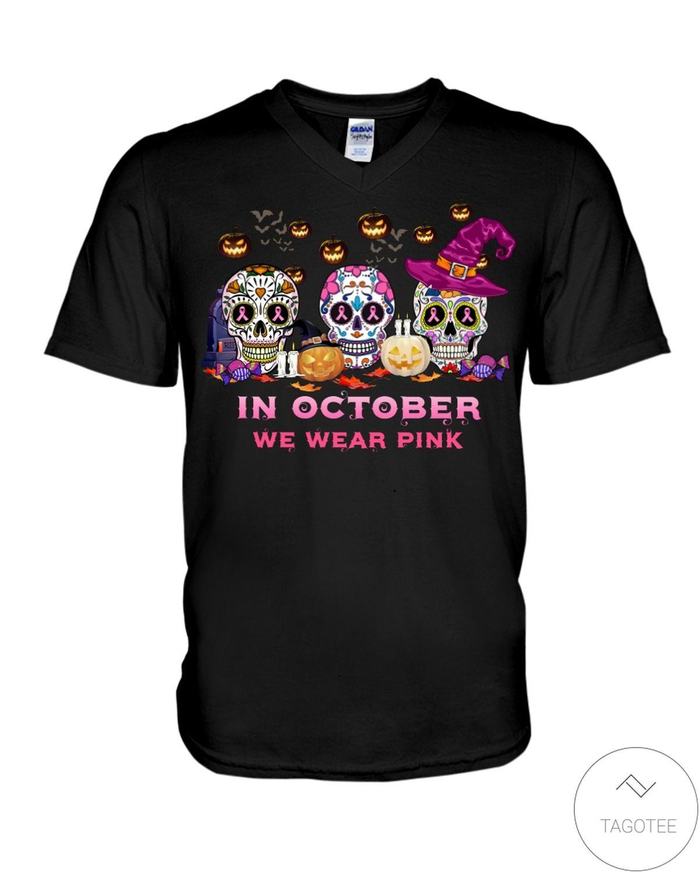 Perfect Halloween Skulls In October We Wear Pink Shirt, hoodie, tank top