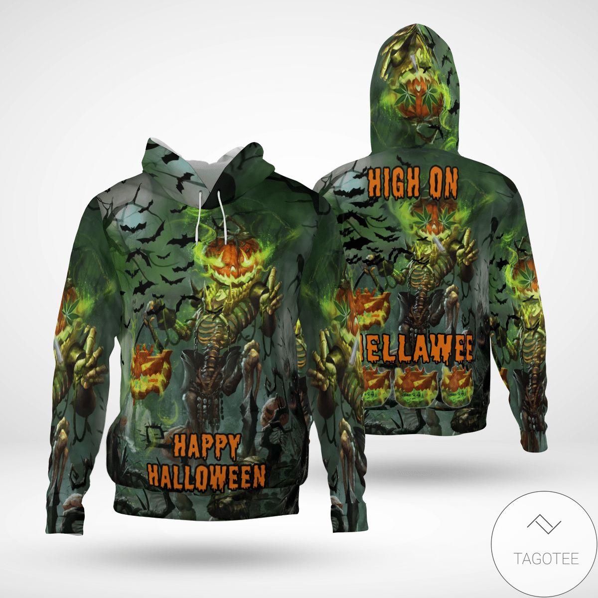 Rating Happy Halloween Skull High On Hella Weed 3d Hoodie