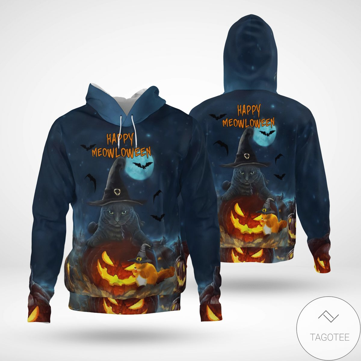 Us Store Happy Meowloween Cat Witch 3d Hoodie