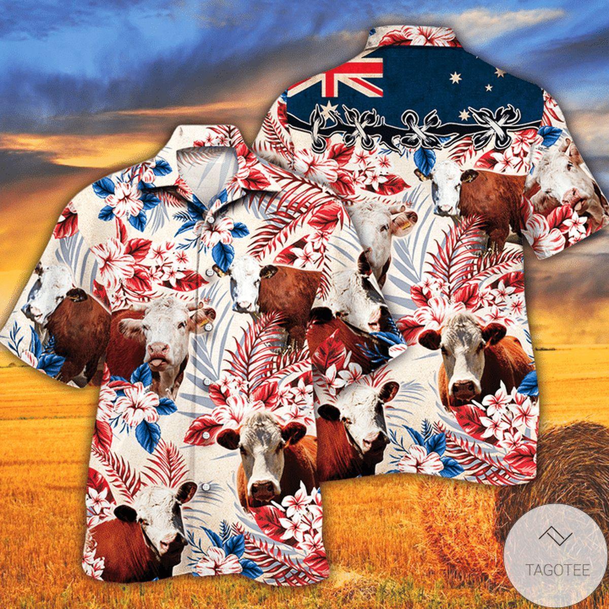 Hereford Cattle Lovers Australian Flag Hawaiian Shirt