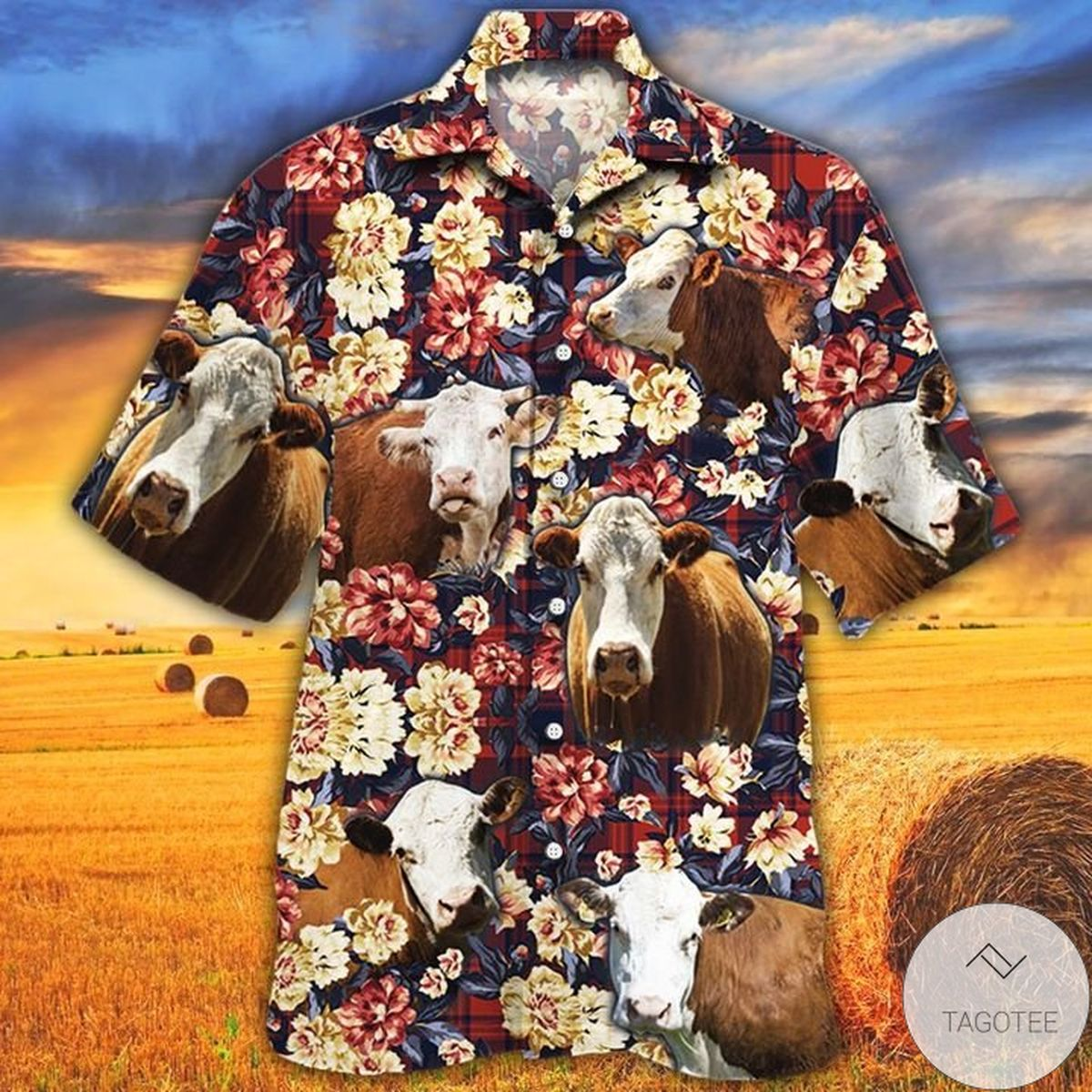 Hereford Cattle Lovers Red Plaid Pattern Hawaiian Shirt