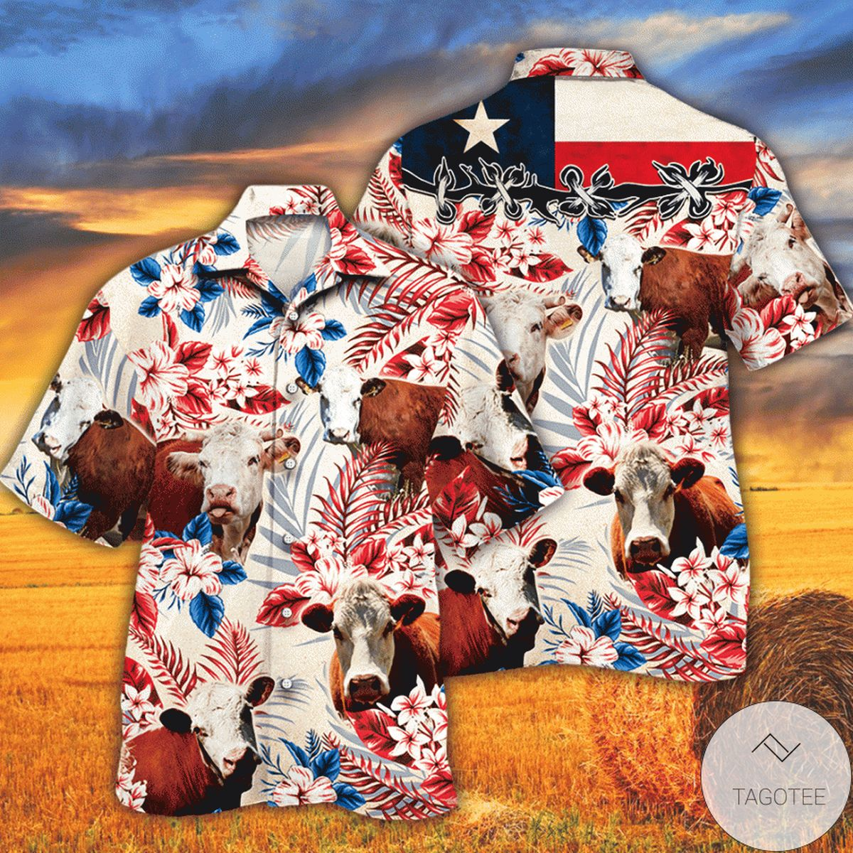 Hereford Cattle Lovers Texas Flag Hawaiian Shirt