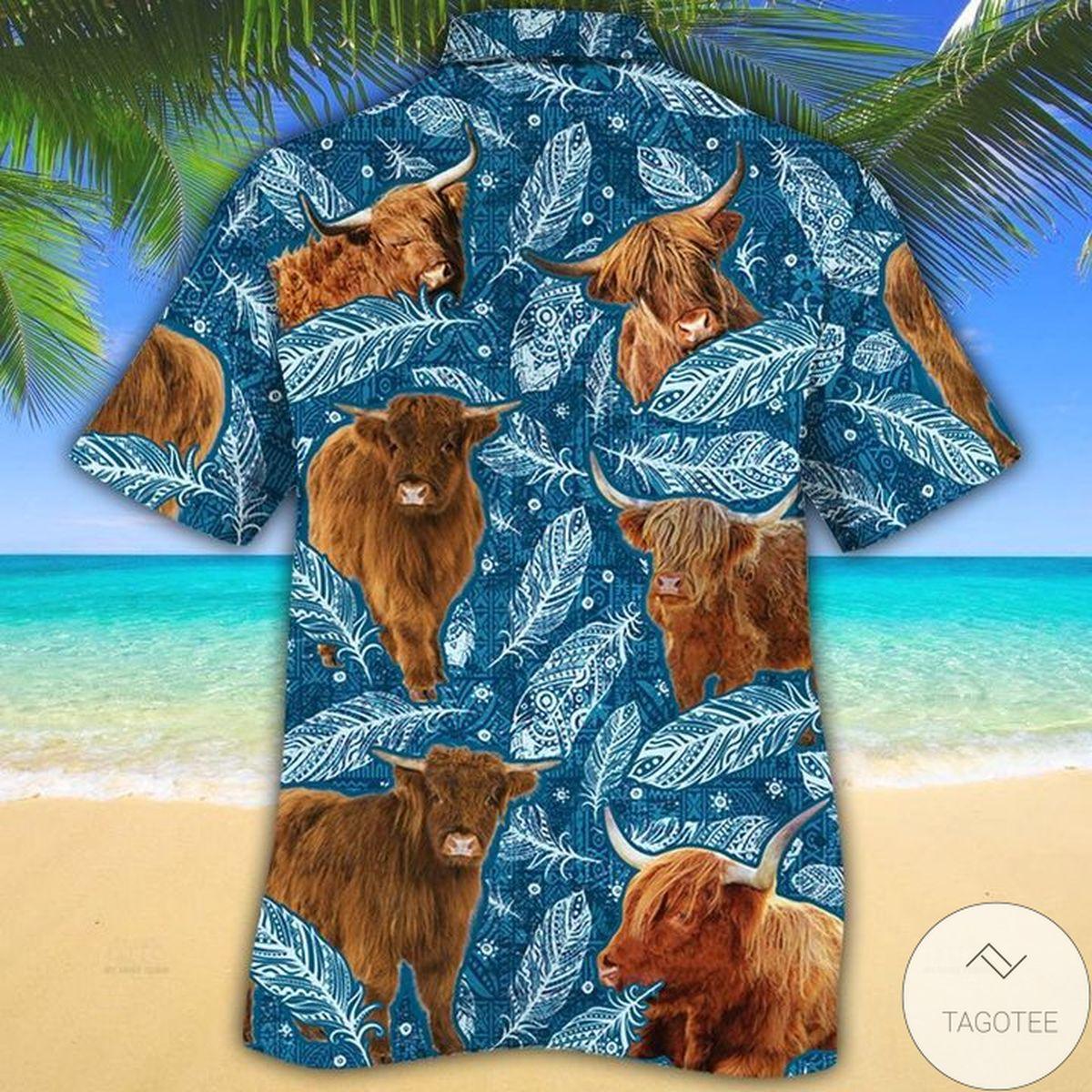 Luxury Highland Cattle Lovers Blue Feather Hawaiian Shirt
