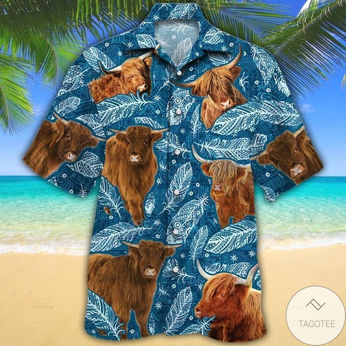 Awesome Highland Cattle Lovers Blue Feather Hawaiian Shirt