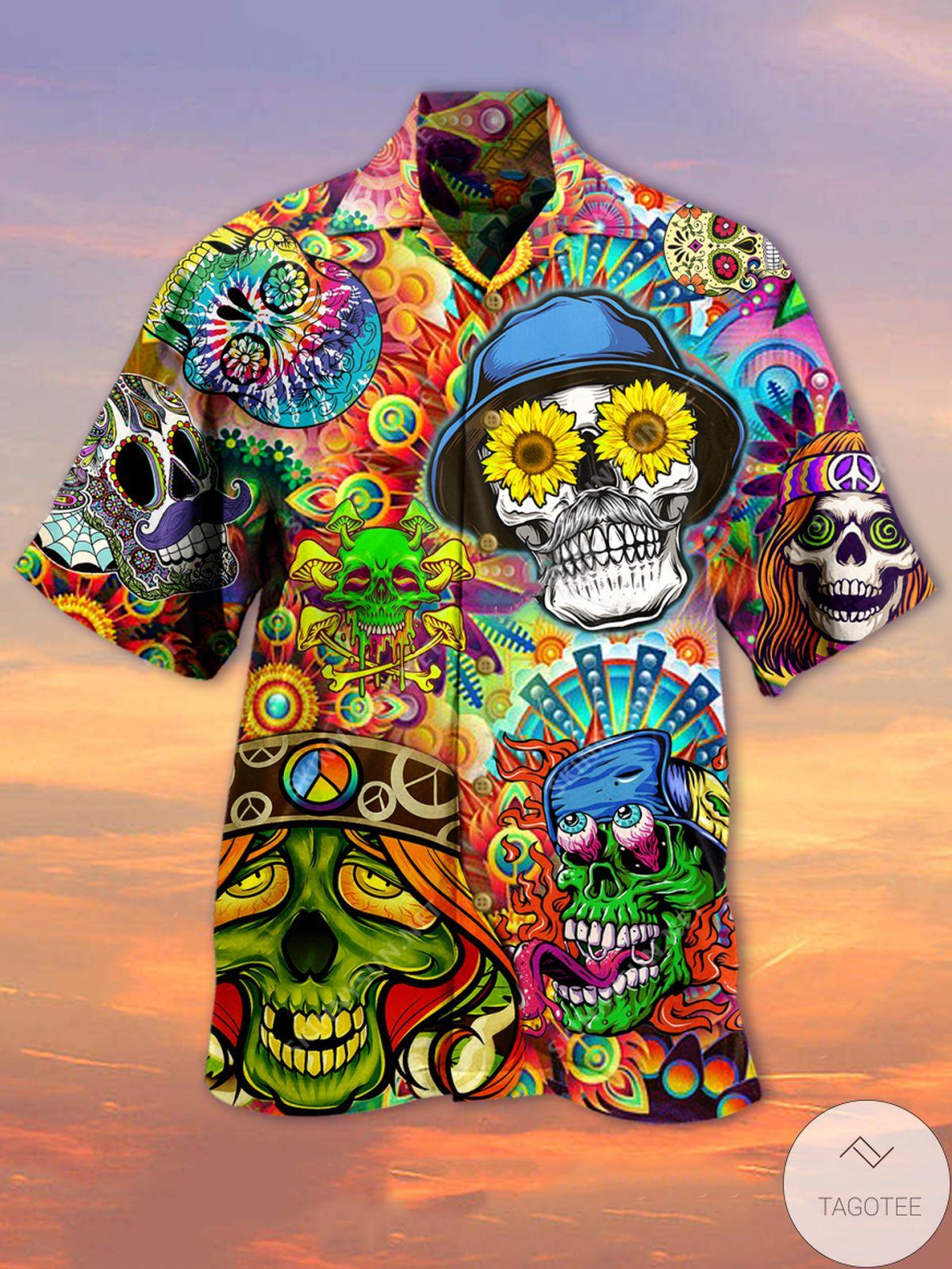 All Over Print Hippie Colorful Skulls Unisex Hawaiian Shirt