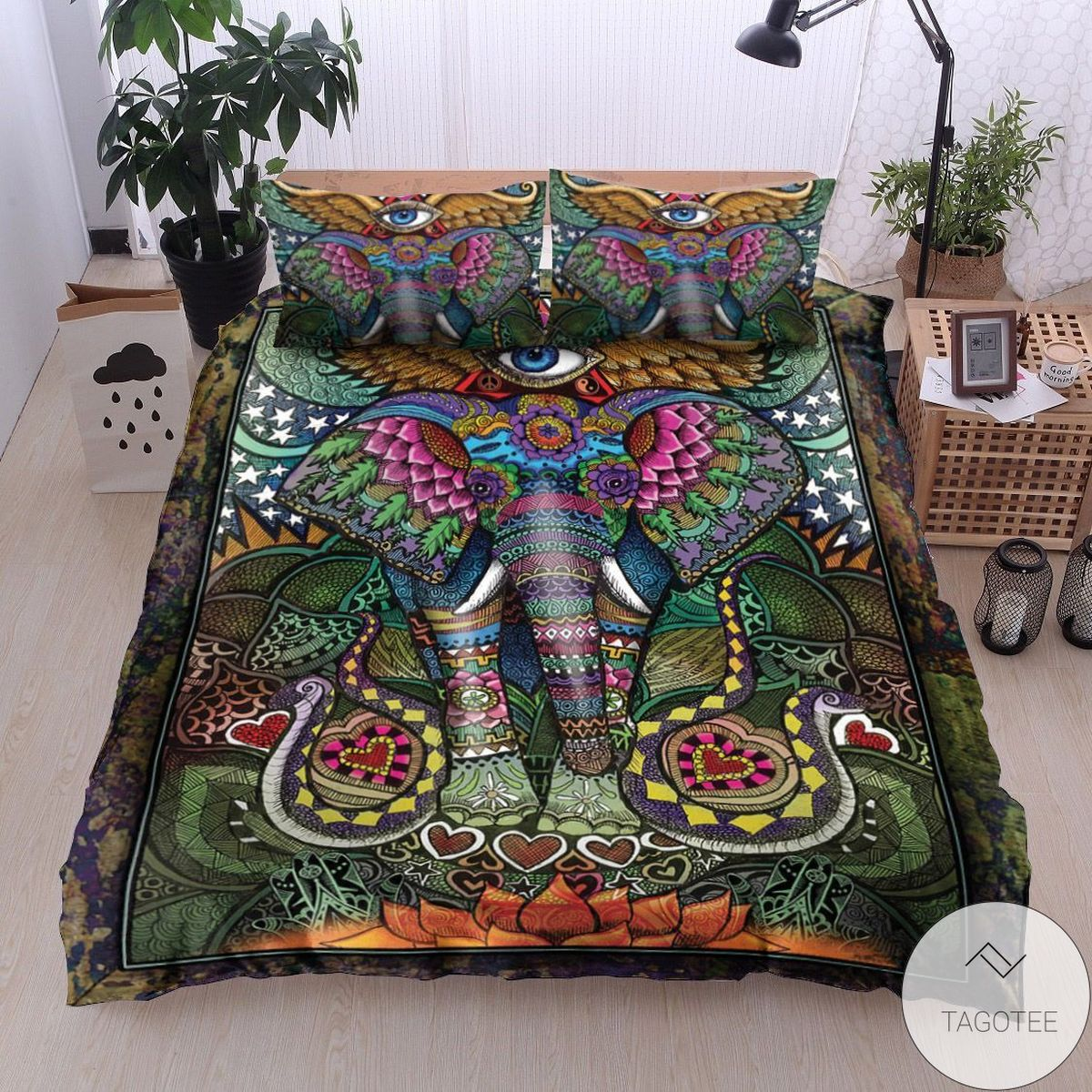 Free Ship Hippie Elephant Bedding Set