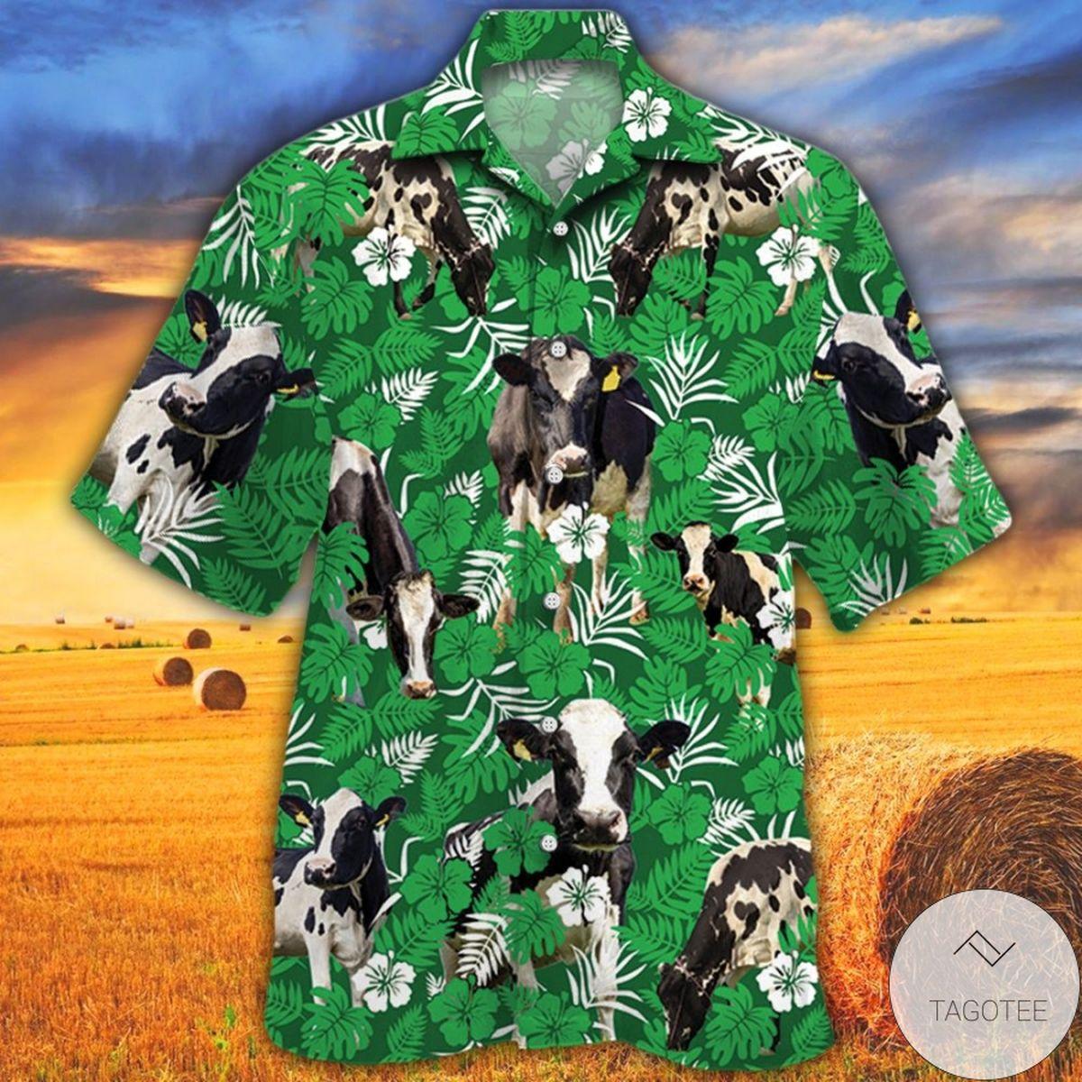 Holstein Friesian Cattle Lovers Green Floral Pattern Hawaiian Shirt