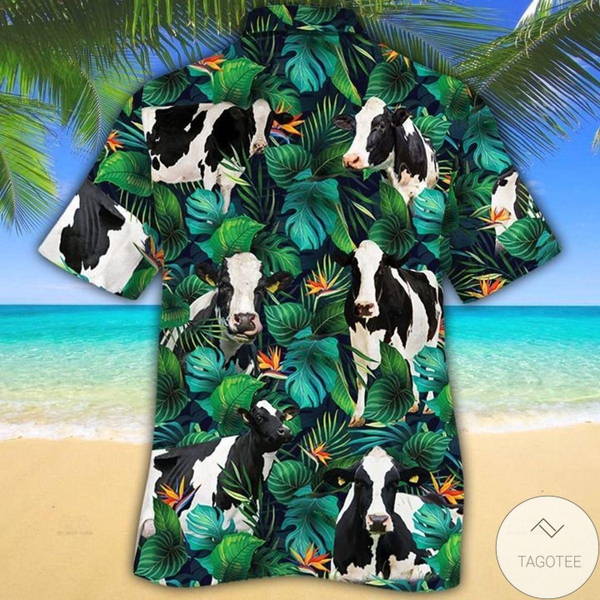 Very Good Quality Holstein Friesian Cattle Lovers Tropical Leaves Hawaiian Shirt