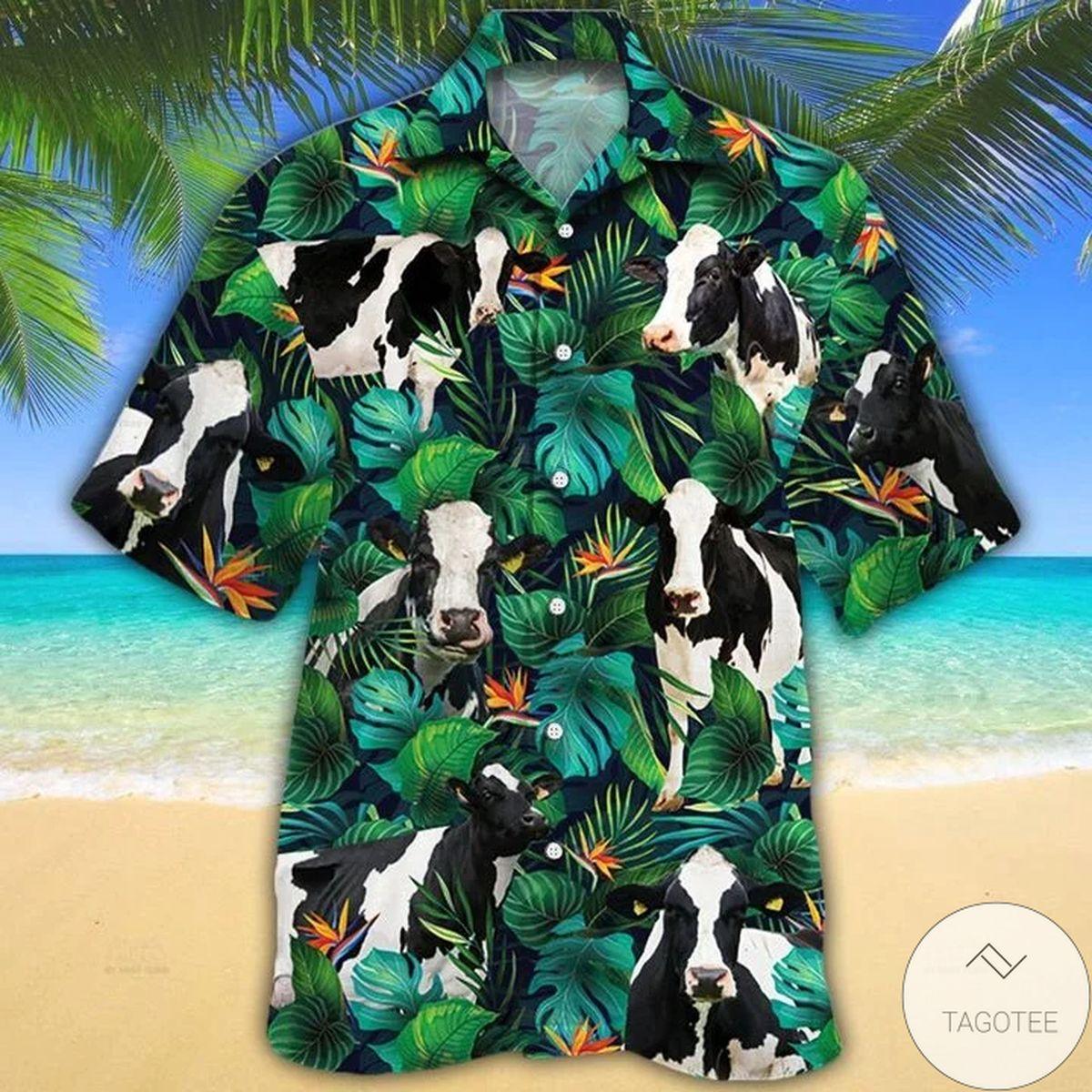 Holstein Friesian Cattle Lovers Tropical Leaves Hawaiian Shirt