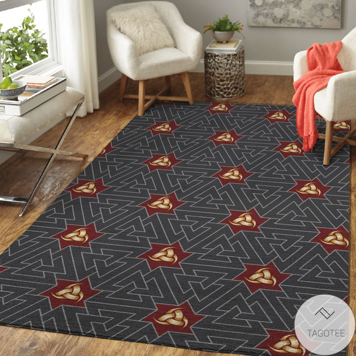 Horns Of Odin And Valknut Viking Area Rug