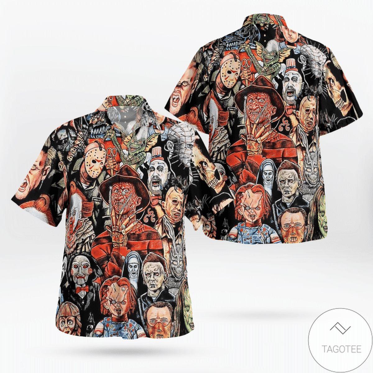 Sale Off Horror Movie Characters Halloween Hawaiian Shirt