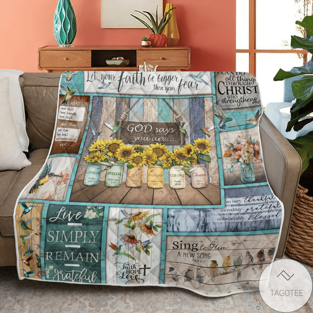 Free Ship Hummingbird Sunflowers God Says You Are Quilt