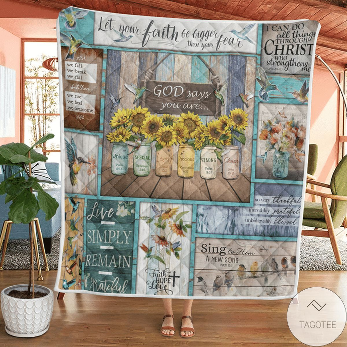 Great Hummingbird Sunflowers God Says You Are Quilt