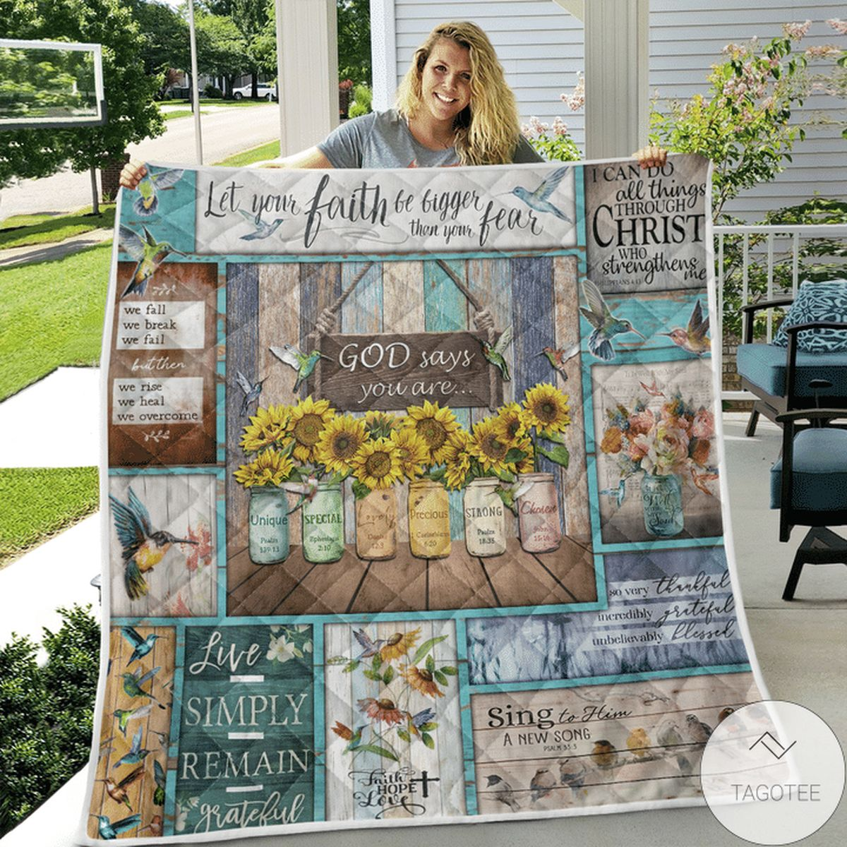 Limited Edition Hummingbird Sunflowers God Says You Are Quilt