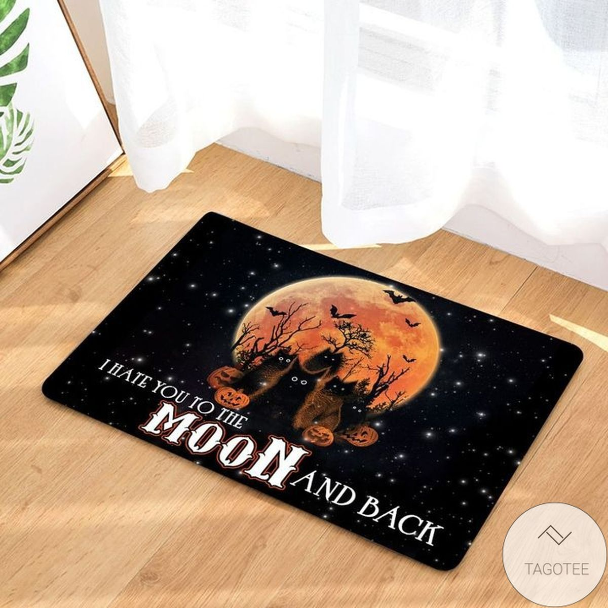 I Hate You To The Moon And Back Black Cat Pumpkins Doormat x