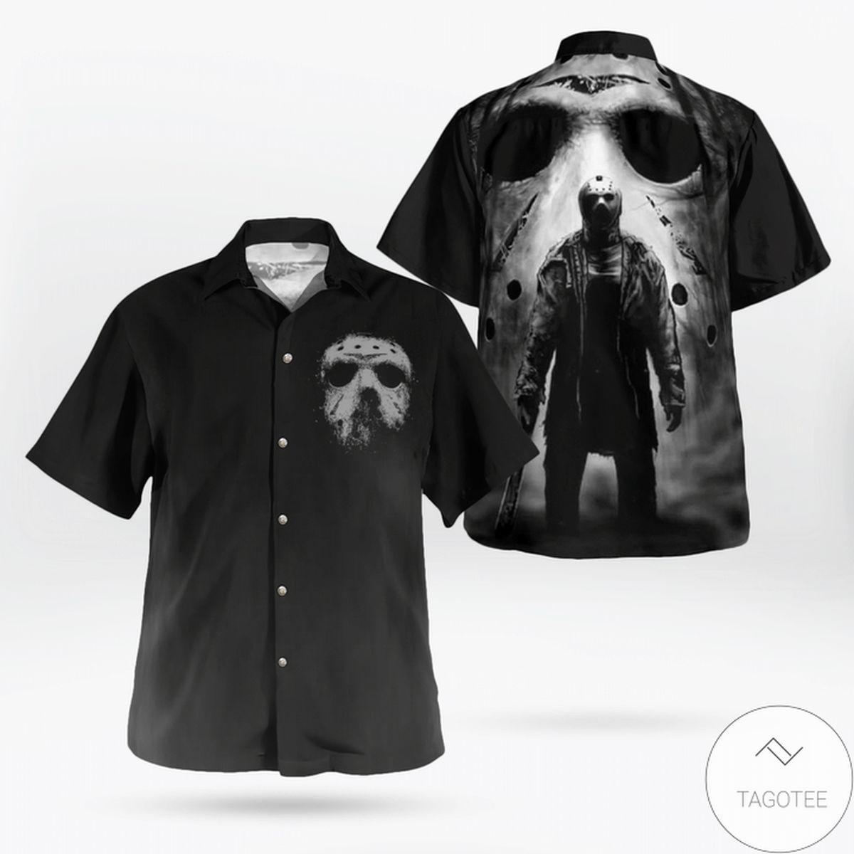 Jason Voorhees Black Horror Button Up Hawaiian Shirt