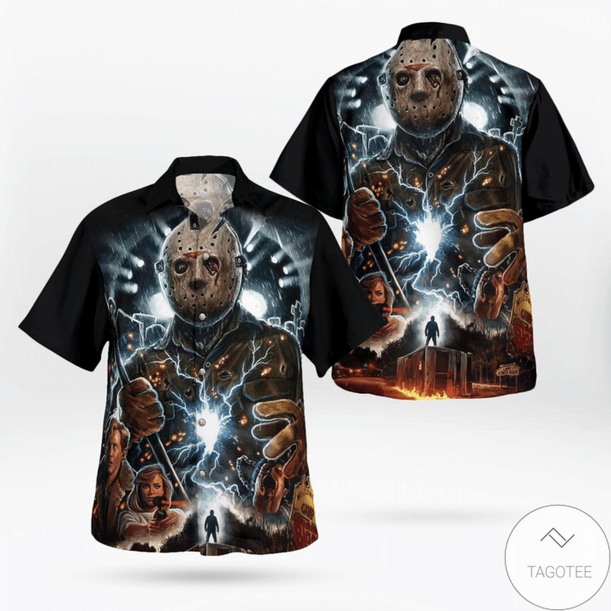 Jason Voorhees Flashlight Halloween Hawaiian Shirt