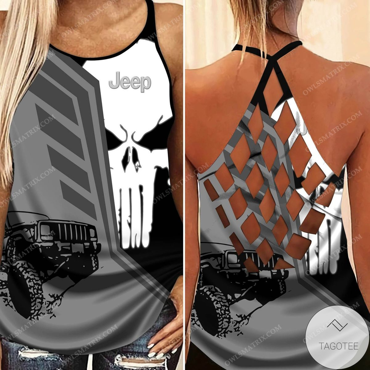 Jeep Girl Skull Criss Cross Tank Top