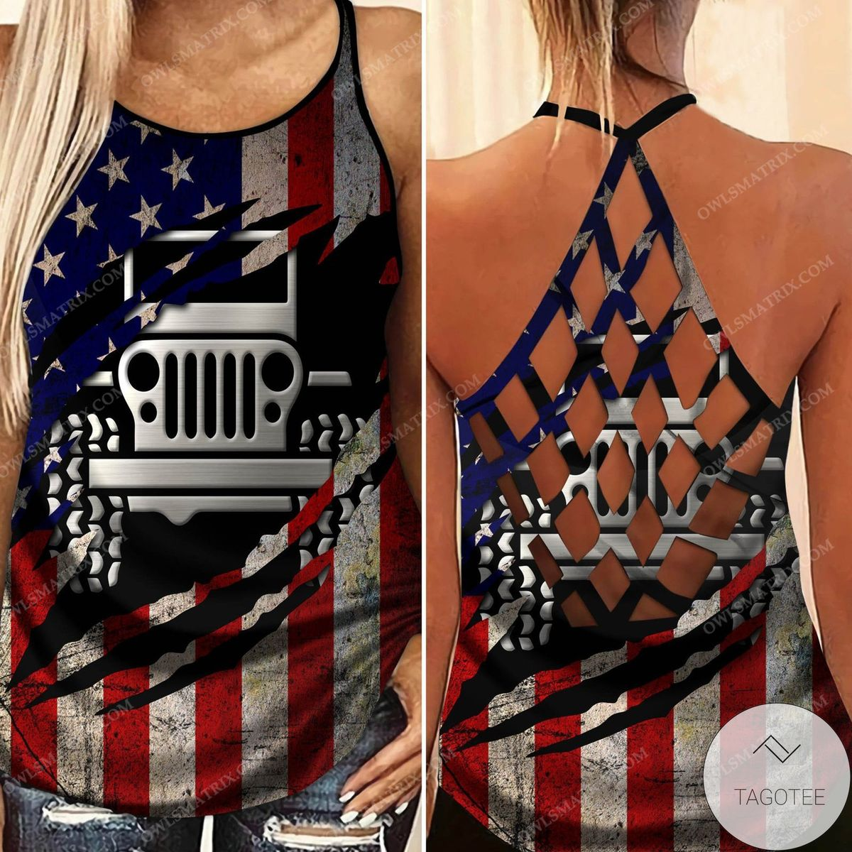 Jeep Girl Us Flag Criss Cross Tank Top