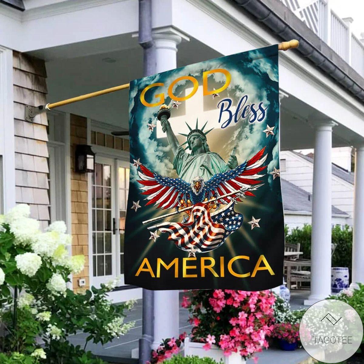 Handmade Jesus God Bless America Flag