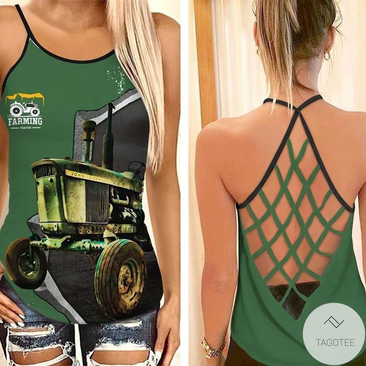 John Deere Tractor Farming Criss Cross Tank Top